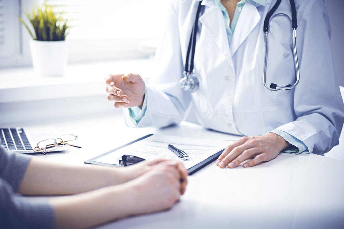 A doctor and patient consultation in a clinic